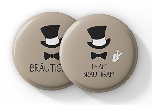 """JGA Männer – Junggesellenabschied Button 1x """"Bräutigam"""" und 11x """"Team Bräutigam"""" – Cooles Buttons Set"""