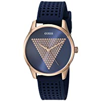 GUESS Women's Stainless Steel Japanese Quartz Watch with Silicone Strap, Blue, 18 (Model: U1227L3)