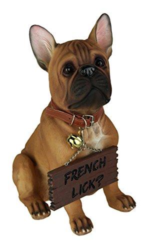 Französische Bulldogge Einladende Statue für Hundeliebhaber durch DWK | Deko Pet Bull Hund Outdoor Skulptur Collectible Figuren -