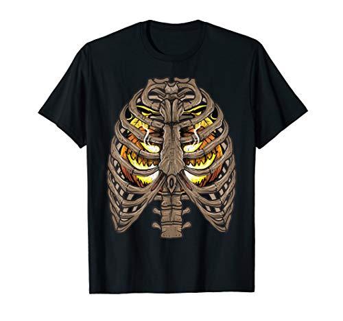 Jack Kostüm Skelett - Skelett Ripp-Käfig Halloween Jack O Laterne Kürbis Kostüm T-Shirt