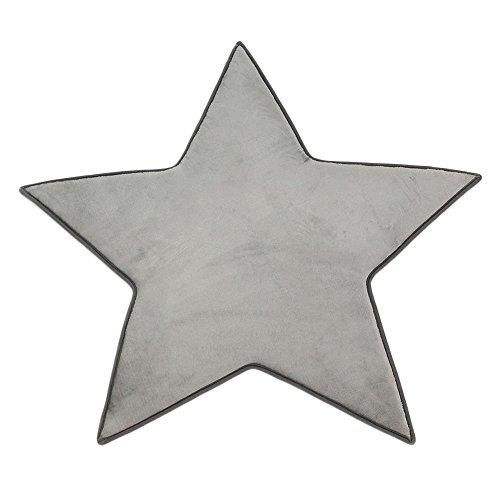 Monbeautapis–alfombrilla antideslizante en forma de estrella muy suave, de franela y poliéster, 90x 90cm, poliéster, gris, 90x90 cm