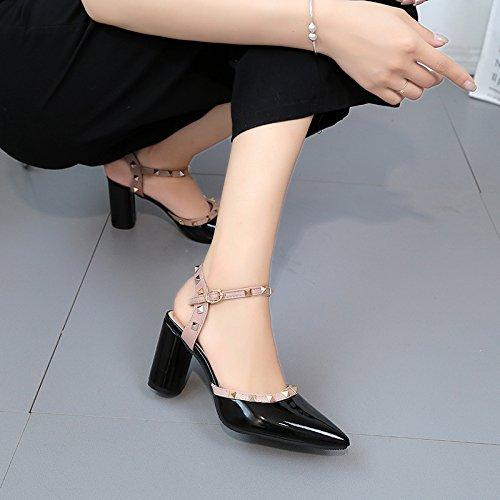 fan4zame Sandalen Frauen Spitz Heels Heels Nieten Schnallen Leder Schuhe Frauen High Heels 7,5cm Cool bequem atmungsaktiv Sandalen 36 black