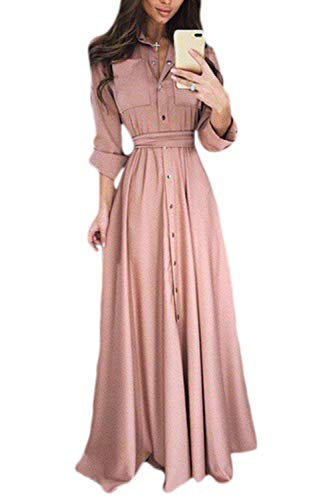 Vosujotis Frauen - Button - Down - Kleid, Lange Hemden Plus Size - Party Maxi - Kleider pink M