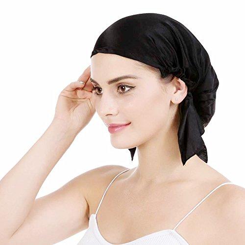 Emmet 100% Seide Schlafmütze Haarschönheit Nachtmütze Damen für Haarverlust Atmungsaktive Kappe mit süßem elastische Band (natürlich schwarz, x-Large)