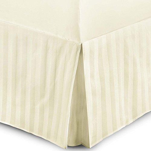 Mantovana T230 in raso rigato, 100% cotone egiziano, qualità da hotel, per letto matrimoniale, colore bianco, 100% cotone egiziano, Cream, King