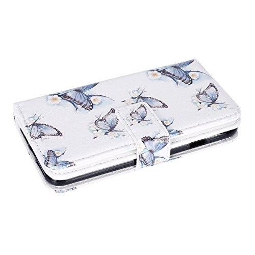iPhone 7 Hülle,iPhone 7 Ledertasche Handyhülle Brieftasche im BookStyle,SainCat PU Leder Hülle Wallet Case Folio Schutzhülle Karikatur Muster [Pink Butterfly] Lederhülle Scratch Bumper Handytasche Bac Weißer Schmetterling