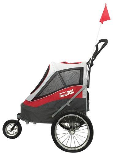 InnoPet® Sporty Trailer Pet Stroller Dogtrailer klappbar faltbar Hundebuggy Hundewagen wandelbar Fahhradanhänger für Hunde Luftreifen inkl. Regenhaube - 2