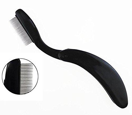 Professionelle klappbar, Edelstahl Zähne Wimper Kamm-Tragbare Augenbrauen Bürste Shaper Brow Groomer Mascara Kamm für Wimpern und Augenbrauen Make-up Pinsel Beauty Werkzeug (schwarz)