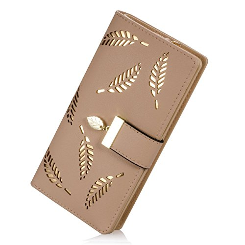 Lorna Women's Wallet Hollow Leaf Pattern Bifold Leather Lady Long Wallet Purse Coin Button Clutch Bag Black/Blue/Beige/Brown (beige)
