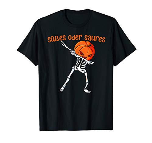 Kostüm Frauen Skelett Süßes - Halloween Dabbing Skelett Outfit Kürbis Kostüm Süßes Saures T-Shirt