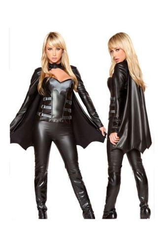 harrowandsmith Damen Batman Vs Superman Schwarz Korsett und Hose/Batman/Batgirl Kostüm, Größe UK 10/12, EU (Superman Latex Kostüme)