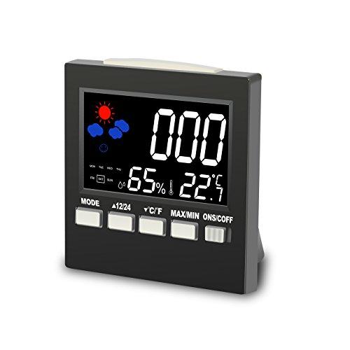 Reloj Despertador Calendario Digital LCD, BINKEN Termómetro Higrómetro Multifuncional con Patalla Colorida y Rretroiluminación, Estación de Tiempo con Alarma y Modo Siesta Escritorio