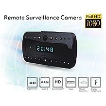 Electro-Weideworld - 1080P Reloj despertador cámara espía con visión nocturna cámara espía Mini reloj