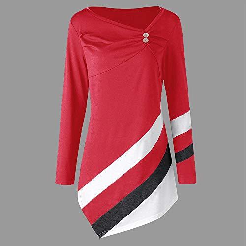 Langarmshirt Damen Bluse FGHYH Frauen-Herbst-Winter-gestreifte asymmetrische Tunika-Oberseiten Plus Größen-Blusen-T-Shirts(L, rot) -