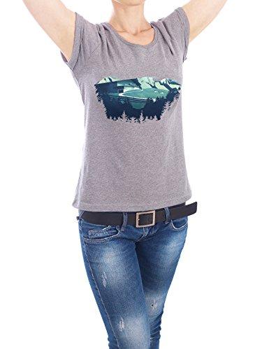 """Design T-Shirt Frauen Earth Positive """"Alpine Hut"""" - stylisches Shirt Natur Reise Reise / Länder von Romina Lutz Grau"""