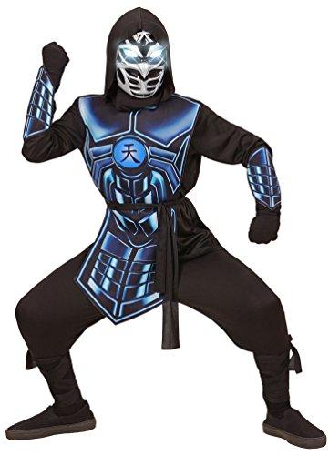 inja Kostüm Kinder Samurai Kämpfer Kostüme Kinder Jungen Maske leuchtenden Augen 3 Roboterstimmen Karneval Kinder-Kostüm Größe 140 (Blau Ninja Kostüm Für Kinder)