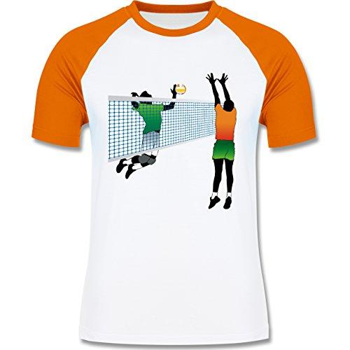 Volleyball - Volleyballspieler Netz Angriff Verteidigung - zweifarbiges Baseballshirt für Männer Weiß/Orange