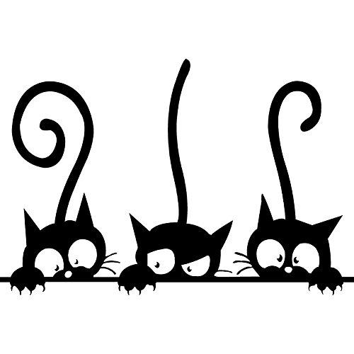 CAOLATOR Wandtattoo Süße Katze Wandsticker PVC Abnehmbar Wandaufkleber Mode Klebeband Aufkleber Deko Für die Schlafzimmer Kinderzimmer Schwarz (20 * 30cm) (Katze Klebeband)