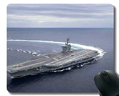 Mauspad mit genähtem Rand, Militär USS Abraham Lincoln (CVN 72) Kriegsschiff Rutschfeste Gummi-Gaming-Mauspad