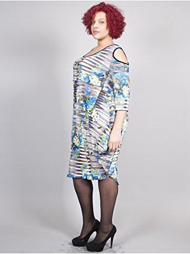Vêtement Femme Grande Taille Robe Plissée Fleurs Bleues Bleu