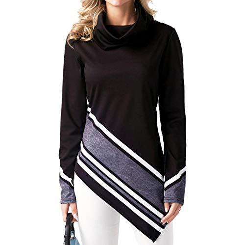 MEIbax Damen Casual Stehkragen Gestreift Printed Hem Long Sleeve Sweatshirt Top Bluse Pullover Tunika