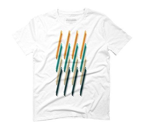 Geometric line colour Men's Graphic T-Shirt - Design By Humans White