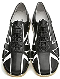 Delicious Junction Tommy Black & White Leather Lace Up Bowling Shoe