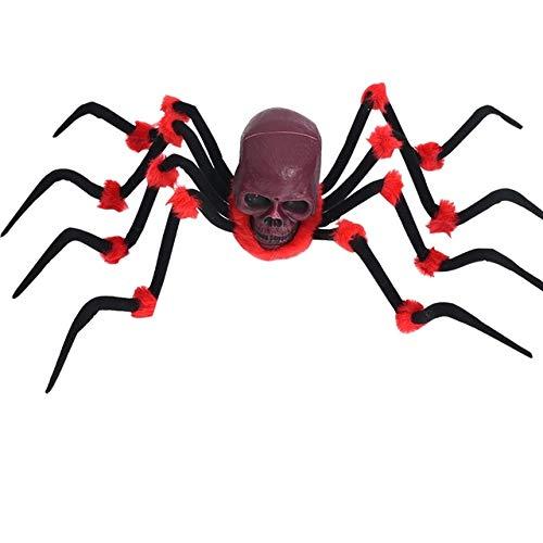 WSJDE Große spinne Scary Spielzeug Tier Horror Halloween Requisiten Dekoration für Frauen männer Kind Party Horror Requisiten leuchten Augen elektrischeHong se