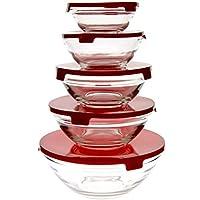 Juego de 5cuencos de cristal transparente con tapa de plástico, recipientes para alimentos, 5tamaños diferentes