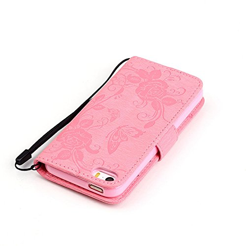 iPhone Case Cover emobssing schmetterling harz für pu - leder aus strass fall mit seil und karten - slots für apple iphone5 iphone5s 5se iphone6 / 65 / 65 plus iphone6 ( Color : Dark-blue , Size : IPh Pink