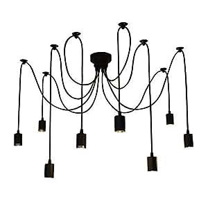 """Flower Fairy invio Creative Fuloon-Lampada da soffitto, modello Shop Coffee-Lampadario luce illuminazione a sospensione, modello """"Modern Chic"""", ragno, nero, 8pcs"""