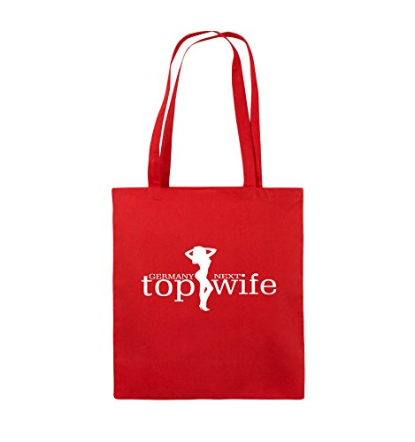 Comedy Bags - GERMANY NEXT top wife - Jutebeutel - lange Henkel - 38x42cm - Farbe: Schwarz / Silber Rot / Weiss