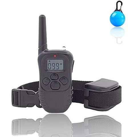 Collar de entrenamiento perro recargable y control remoto impermeable Anti ladridos Collar con gama de sonido y vibración No Shock Collar y 300 metros para 1
