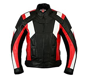 texpeed herren motorradjacke mit protektoren leder rot wei gr en m 5xl. Black Bedroom Furniture Sets. Home Design Ideas