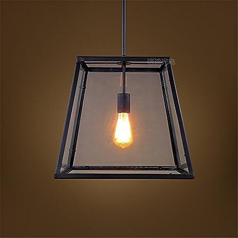 Larsure Rétro Lustre Plafonnier Suspension Luminaire Industriel Éclairage Lampe Œuvres simple fer creative café bar bar chef unique fenêtre boîte de verre lustre, 38,5 * 38 *