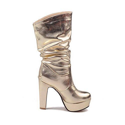VogueZone009 Damen Hoher Absatz Poliert Rund Zehe Pu Leder Ziehen Auf Stiefel Golden