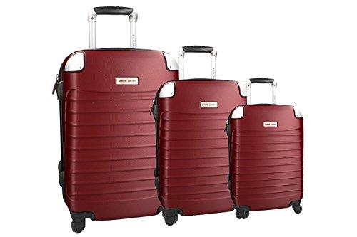 Set valigie trolley 3 pezzi rigido bordeaux PIERRE CARDIN cabina da viaggio