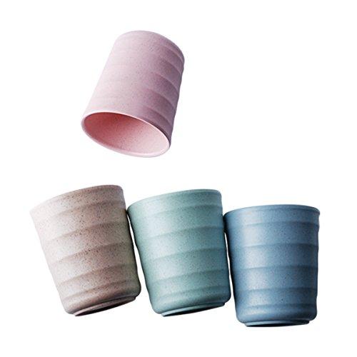 UPSTYLE respetuoso con el medio ambiente Healthy trigo paja Biodegradable bambú taza de plástico, vaso, copa para agua, café, leche, zumo, té tamaño 200ml (Pack de 4, Verde, Azul, Rosa, Amarillo)