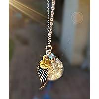 Roségold Herz und Engelsflügel Löwenzahn-Halskette mit STERLING SILBER Kette und Geschenkbox - Pusteblume Anhänger Rose Gold Kette für Frauen Bester Freund Schwester Gedenkschmuck