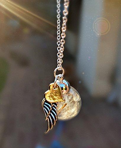 Corazón de oro rosa Ala del ángel Collar de diente de león Cadena PLATA ESTERLINA y caja de regalo - Colgante Amor corazon joyas de oro rosa para mujeres regalo del día de la madre