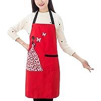 CAOLATOR Delantal Cocinar el Delantal de la Mujeres Barbacoa del Comedor Cocina Cafetería los Delantales con Bolsillos Para las Cocinero o Camarero 75x65cm-Rojo