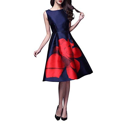 Dolamen Mujer Vestidos, Cuello redondo Vintage y estilo retro, una línea vestido sin mangas Rodilla-largo sin mangas del oscilación, perfecto para el partido, el coctel y la boda (X-Large, Azul)
