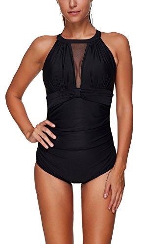 YuanYan Femme Maillot de Bain Elégant amincissant monokini push up 1 Pièce shorty chic Noir 4 - Taille S (FR 36)