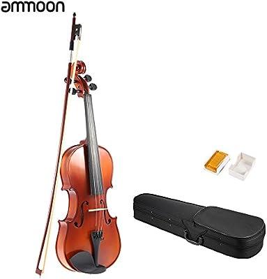 Ammoon 1/4 Madera Maciza Violín Antiguo Violín Acabado Mate Picea Junta la Cara con la Caja Dura del Arco de Colofonia