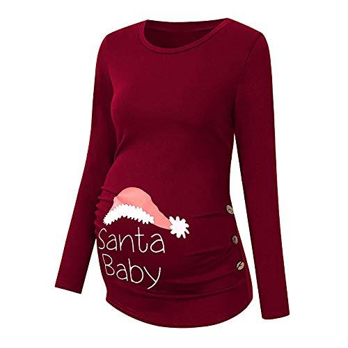 Beikoard Umstandskleidung,Damen Print Weihnachten Mutterschaftsoberteil Schwangerschaft Umstandsmode Umstandsmode/Schwangerschaftsshirt, Langarm