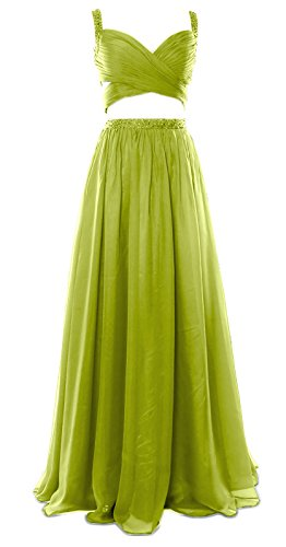 MACloth Women 2 Piece Long Prom Dress Chiffon Sexy Homecoming Party Formal Gown Olive Green