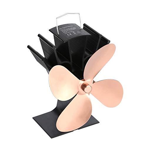Preisvergleich Produktbild fengwen66 Wärmeleitungs-Kaminventilator Wärmebetriebener Holzofen-Ventilator Vierflügelventilatoren (Bronze)