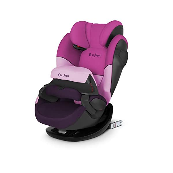 CYBEX Silver Pallas M-Fix 2-in-1 Child's Car Seat, For Cars with and without ISOFIX, Group 1/2/3 (9-36 kg), From approx. 9 Months to approx. 12 Years, Purple Rain Cybex Sturdy and high-quality child car seat for long-term use - For children aged approx. 9 months to approx. 12 years (9-36 kg), Suitable for cars with and without ISOFIX Maximum safety - Depth-adjustable impact shield, 3-way adjustable reclining headrest, Built-in side impact protection (L.S.P. System), Energy-absorbing shell 12-way height-adjustable comfort headrest, One-hand adjustable reclining position, Easy conversion to Solution M-Fix car seat for children from 3 years (group 2/3) by removing impact shield and base 1
