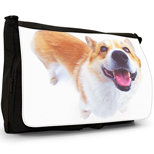 Fancy A Bag Borsa Messenger nero Samoyed Dog Corgi Dog Close Up Of Face
