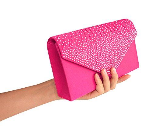 EssVita Sera Nozze Nuziale Partito Borsa a mano Portamonete per le donne Strass Frosted Busta Borsetta Borse a tracolla Argento Rosa